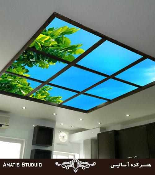 سقف کاذب طرح شیشه ای درختی