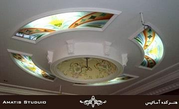 پانل های شیشه ای ( سقف شیشه ای ) رنگی با تزئینات چاپی و چراغ ها